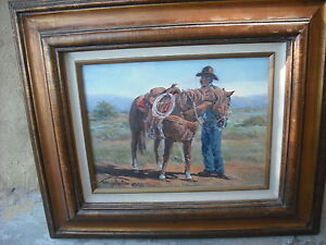 Cowboy horse painting by New Mexico cowboy Randy Follis from Texas $365.00