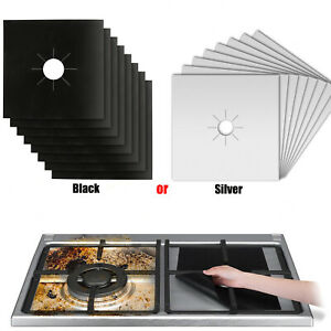 8 Gas Range Stove Top Burner Protector Reusable Liner Clean Cook Non-stick Cover