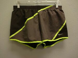 NIKE Dri-Fit Womens Brown Volt Stripe Athletic Drawstring Running Shorts - S