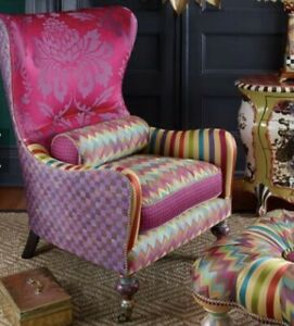 Mackenzie Childs Kaleidoscope  Wing Chair  Delivery Available