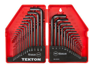 TEKTON Hex Key Wrench Set Inch Metric30 Piece 25253 with hinged storage case