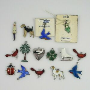 Enamel Charms  Vintage Sterling Silver & Silver  Lot of 15  25.0g
