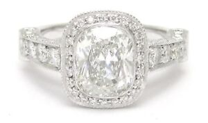 2.4CTW CUSHION CUT DIAMOND ENGAGEMENT RING DESIGNER INSPIRED ANTIQUE STYLE