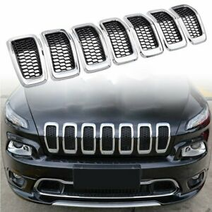 Black Front Honeycomb Mesh Chrome Ring Grill Insert For 2014-2018 Jeep Cherokee