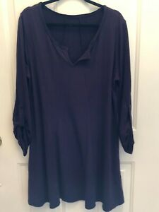 NWOT 2X Loose Casual Pullover Tunic Purple Roll Tabbed Sleeves Pockets