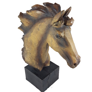 Horse Head Bust Sculpture Statue Art Wood Carved Look on Base Resin Home Decor