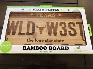 Texas Bamboo Cutting Board Cheese License Plate Wild West Chopping
