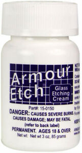 Glass Etching Cream by Armour Etch: Chemical Acid Etching Bottle 2.8 10 or 22 $7.99