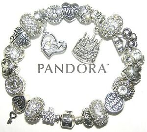 Authentic Pandora Bracelet Silver With WIFE BIRTHDAY LOVE WHITE European Charms
