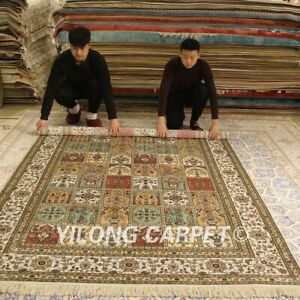 YILONG 6'x9' Four Seasons Design Hand Woven Silk Carpet Hand Knotted Rugs 203B