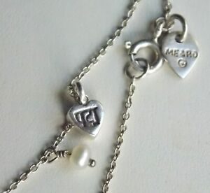 ME & RO Sterling Silver Tiny Lotus Heart Pendant with Pearl 16