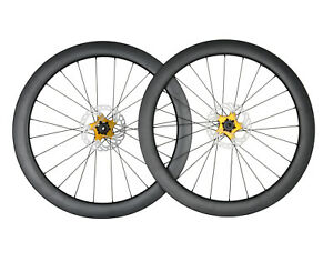 Disc brake Carbon Wheelset Clincher Tubeless Road Bike 700C Floating Rotor Gold $373.00
