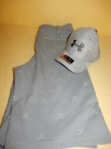 Boys Under Armour Golf Shorts size 20 and Hat sz xs-sm
