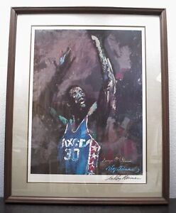 George McGinnis Leroy Neiman Lithograph numbered 75100 COA Signed Vintage 1976