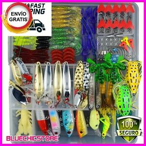 204 Pcs Fishing Lures Lot with Tackle Box Hard Soft Plastic Freshwater-Saltwate
