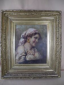 Antique Oil Framed Painting Gypsy Woman Portrait Signed quot;Mullerquot; $3250.00