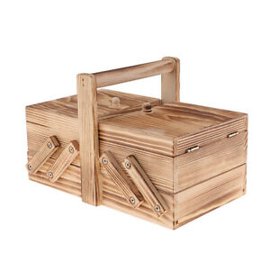 Decorative Home Table Organizer Wooden Cantilever Sewing Case Jewelry Chest $24.01