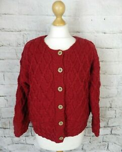 Vintage red Irish ladies view chunky cable aran hand knit cardigan bust 46