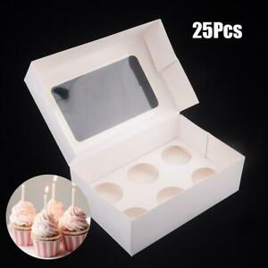 25pcs 6 Holes Paper Cupcake Cake Insert Box Case Wedding Party Muffin Container