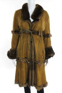 Designer Brown Leather Mink Fur Tie Closure V Neck Coat Size Small