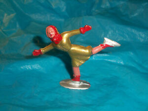 Antique Barclay podfoot lead winter female figure skater gold color, NM
