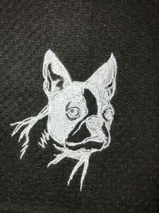 Embroidered Black Kitchen Hand Towel French Bulldog Silhouette  DOG BS1456