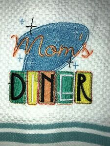 Embroidered Kitchen Hand Towel       Mom's Diner Sign BS1477