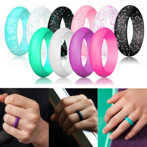 Women's Silicone Wedding Ring Sparkling Rubber Band Modern Durable Comfortable