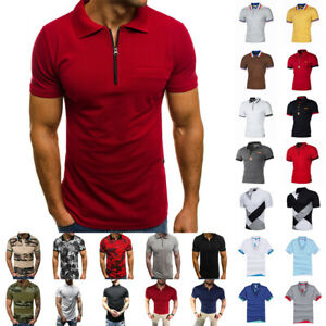 Men's Polo Dress Shirts Summer Short Sleeve T Shirt Golf Casual Tops Tee Sports $11.39