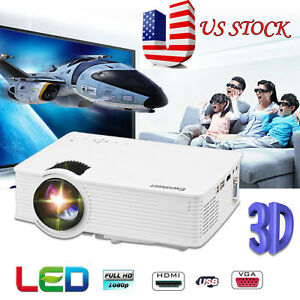 7000 Lumen LED Video Projector 3D 1080P HD Multimedia Home Theater HDMIUSBAV A