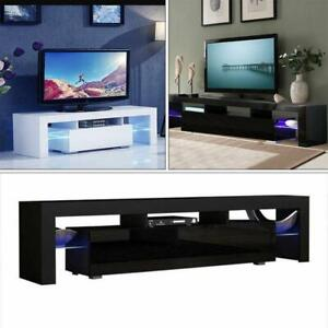 High Gloss TV Stand Unit Cabinet with LED Lights Shelves Living Roo