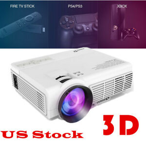 VIVIMAGE C3 Portable Projector 2600 Lux Home Cinema 1080P 3D TV Stick PS4 Xbox