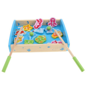 Wood Number Fishing Game with Magnetic Rods Kids Pretend Play Toy for Age 3+