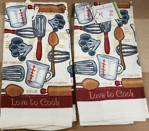 2 SAME PRINTED KITCHEN TOWELS 15quot; x 25quot; KITCHEN GADGETS LOVE TO COOK AM