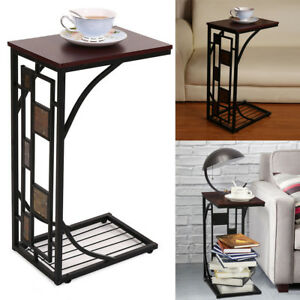 C-shaped Side Sofa Snack Table Coffee Tray End Table Living Room Furniture PR US