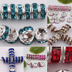 50 100Pcs Crystal Glass Loose Spacer Beads Jewelry Making Craft DIY Finding $2.78