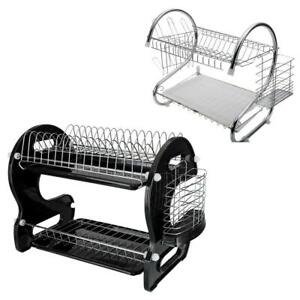 2 Stlye Stainless Steel 2 Tier Dish Rack Drainer Drying Storage Cup Holder Shelf