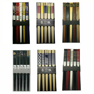 5 Pair Chinese Japanese Sushi Reusable Wooden Chopsticks Multi Pattern $6.49