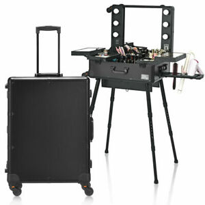 Portable Black Rolling Cosmetics Makeup Artist Travel Case Mirror Legs LED Light