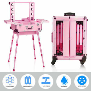 Portable Pink Rolling Cosmetics Makeup Artist Travel Case Mirror Legs LED Lights