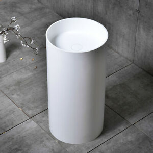 Modern Free Standing Pedestal Sink White Square Bathroom Sink Stone Resin Basin