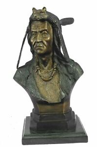 Native American Indian Chief Geronimo Bronze Bust Sculpture 14