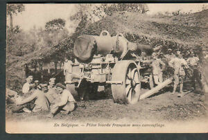 WWI post card French troops in Belgium weapons under camouflage