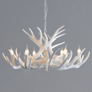 White Faux Antler Cascade Chandelier 1-Tier 6 Arms Candle Pendant Lighting Home