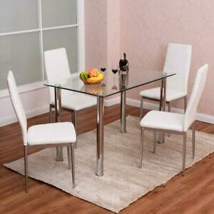 5 Piece Dining Table Set Glass Steel w 4 Chairs Kitchen Room Breakfast Furniture
