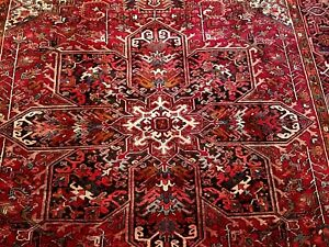 1900-1920 WASHED CLEAN ANTIQUE HERIZ WOOL 9'10 X 13 HANDWOVEN RUG VEGETABLE DYES
