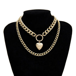 Women LOVE Heart Pendant Choker Chunky Necklace Double Layer Chain Jewelry Gift