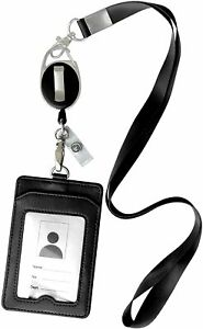 ID Badge Card Holder Leather Vertical Clip Neck Strap Lanyard Necklace Case Reel