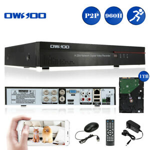 OWSOO 4CH Full 960HD1 Network DVR Digital Video Recorder with 1TB HDD H.264 PTZ