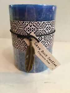 UN-SCENTED CANDLE  New W/tags - Lava Rock Candles  Marbled Blue 3x4 prism NEW!